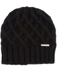 MICHAEL Michael Kors Chunky Knit Skull Hat - Black