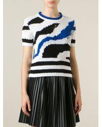 Ermanno Scervino Distressed Intarsia Sweater - Lyst