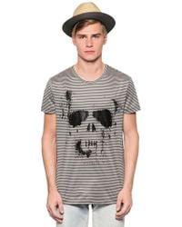 Richmond Skull Printed Striped Cotton T-Shirt - Lyst