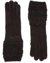 Lauren by Ralph Lauren Long Gloves with Sequined Cuffs - Lyst