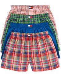 Tommy Hilfiger Mens Woven Boxers 4-pack - Lyst