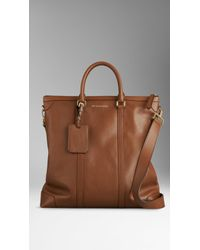 Burberry Large Leather Tote Bag - Lyst