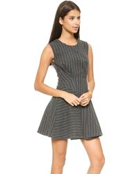 Joa Structured Sleeveless Dress in Pinstripes  Grey - Lyst
