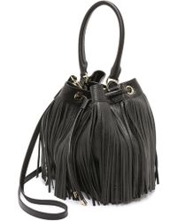 MILLY - Essex Drawstring Fringe Bag - Black - Lyst
