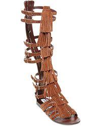 Steve Madden Villano Fringe Gladiator Flat Sandals - Lyst