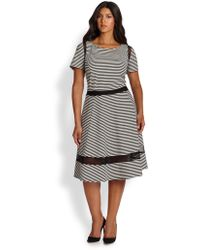 ABS By Allen Schwartz Striped Mesh-Detail Jersey Dress - Lyst