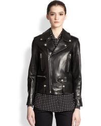 Saint Laurent Classic Leather Motorcycle Jacket - Lyst