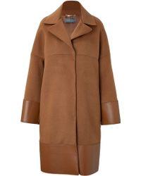 Alberta Ferretti Wool-angora Coat with Leather Trim - Lyst