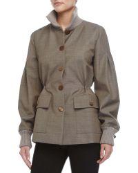 Carolina Herrera Cinched-Waist Coat brown - Lyst