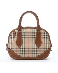 Burberry Tan Leather Trimmed Check Canvas 'Orchard' Small Bowling Bag - Lyst