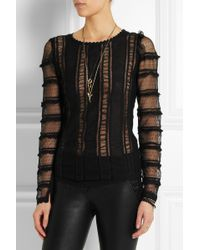 Isabel Marant Quena Embroidered Cotton Lace and Silk Top - Lyst