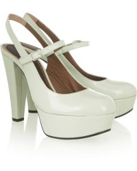 Marni Gray Patent-Leather Pumps - Lyst