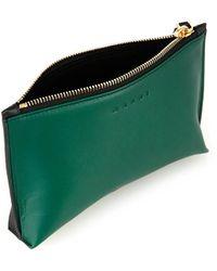 Marni Bi-Colour Leather Make-Up Bag - Green