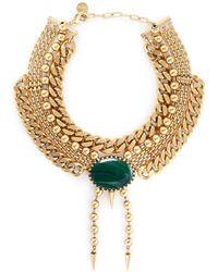 Ela Stone - 'perla' Malachite Spike Drop Multi Tier Necklace - Lyst