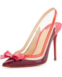 Christian Louboutin Suspenodo Red-sole Colorblock Slingback Pump - Lyst