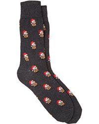 Corgi Holiday Owl Mid-calf Socks - Black