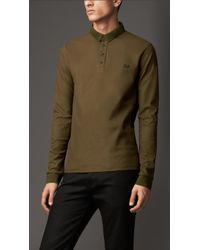 Burberry Long-Sleeved Cotton Polo Shirt green - Lyst