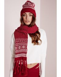 Missguided Fair Isle Hat & Scarf Set Red