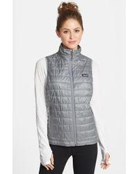 Gap Dot Flannel Puffer Vest In Gray Polka Dot Lyst