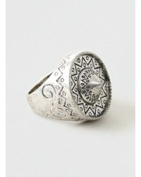 Topman Oversized Engraved Ring - Lyst