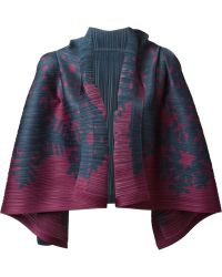 Pleats Please By Issey Miyake Blue Pleated Cardigan - Lyst