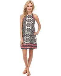 Michael Stars Border Print Halter Dress - Lyst