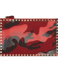 Valentino Red Camo Canvas and Leather Studded Pouch - Lyst