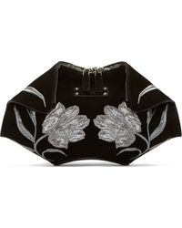 Alexander McQueen Silver Tulip Embroidered Small De Manta Clutch - Lyst