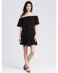 Banana Republic Ruffle Off-The-Shoulder Dress black - Lyst