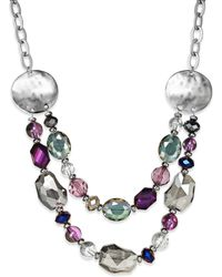 Style & Co. - Silvertone Faceted Bead and Disc Tworow Frontal Necklace - Lyst