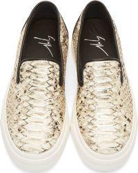Giuseppe Zanotti Ssense Exclusive Silver and Black Snakeskin Berdyk Slip_on Sneakers - Lyst