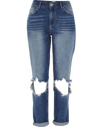 River Island Mid Wash Ripped Ultimate Boyfriend Jeans - Lyst