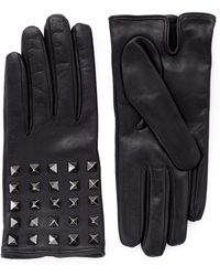 Valentino 'Rockstud' Leather Gloves - Lyst