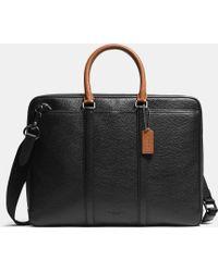 COACH Metropolitan Slim Brief In Contrast Pebble Leather - Black