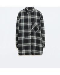 Zara Oversized Checked Tshirt - Lyst