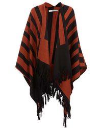 Rodebjer - Orange Striped Wool Knit Poncho - Lyst