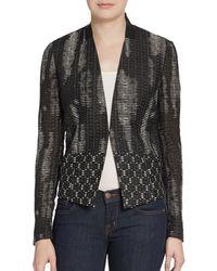 Elie Tahari Abby Leather Trimmed Textured Blazer - Lyst