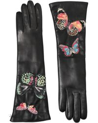 Valentino Butterfly Embroidered Leather Gloves - Black