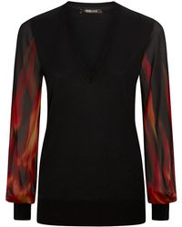 Roberto Cavalli Flame Print Sleeve Pullover - Lyst
