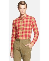 Band of Outsiders Extra Trim Fit Plaid Woven Shirt - Lyst