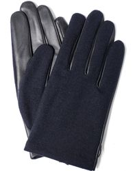 Lanvin - Navy Wool And Leather Glove - Lyst