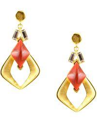 Gerard Yosca - Mesa Howlite And Swarovski Crystal Feather Dangle Earrings - Lyst