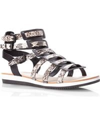 Elie Tahari Black & Off-White Crete Sandals - Lyst