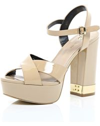 River Island Nude Patent Leather Cross Front 70S Platforms pink - Lyst