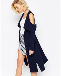 Lavish Alice Collarless Cape Coat With Cold Shoulder - Navy - Blue