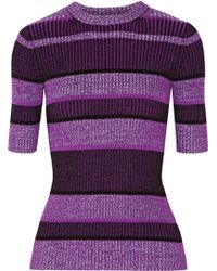 T By Alexander Wang Striped Ribbed-Knit Cotton-Blend Sweater - Lyst
