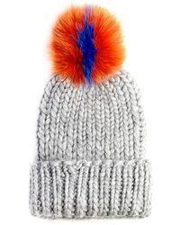 Eugenia Kim Rain Knit Hat with Fur Pompom - Lyst
