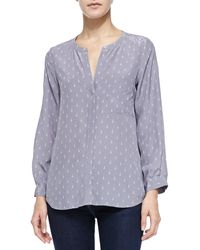 Joie Hanelli Diamond-print Button-front Top  - Lyst