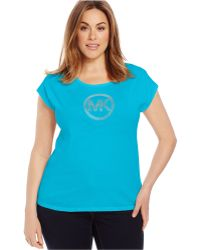 Michael Kors Michael Plus Size Studded Logo Tee blue - Lyst