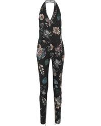 Versus - Floral-print Stretch-wool Halterneck Jumpsuit - Lyst